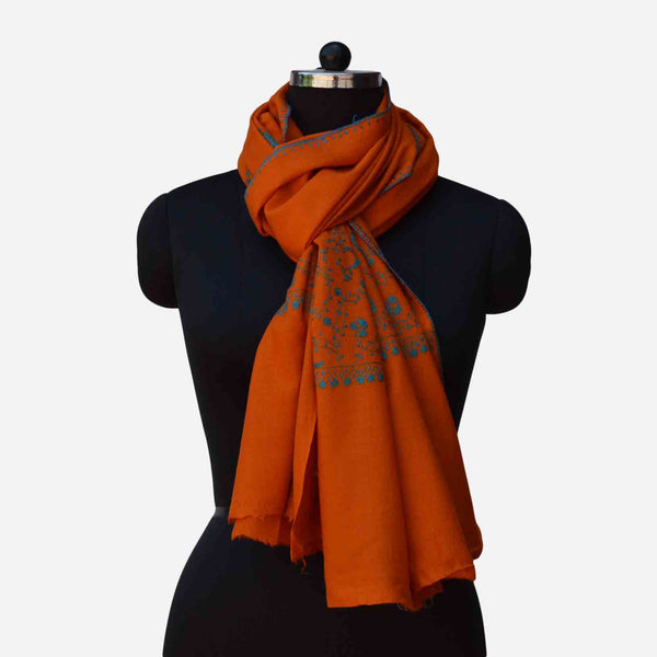 Orange Kashmiri merino woolen sozni big border Hand embroidery scarf