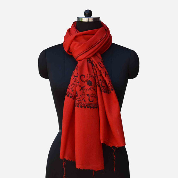 Red Kashmiri merino woolen sozni big border Hand embroidery scarf