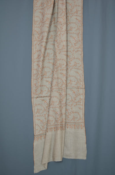 Un Dyed Taupe Jali Embroidery Cashmere Pashmina Scarf
