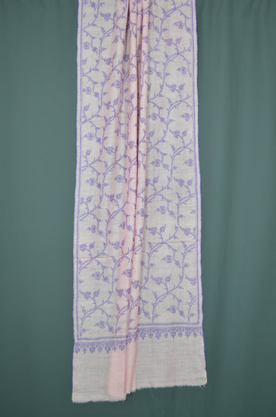 Baby Pink Jali Embroidery Cashmere Pashmina Scarf