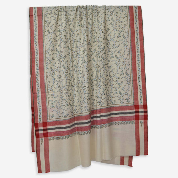 Ivory Cashmere Pashmina Jali Embroidery Shawl with Checkered Border