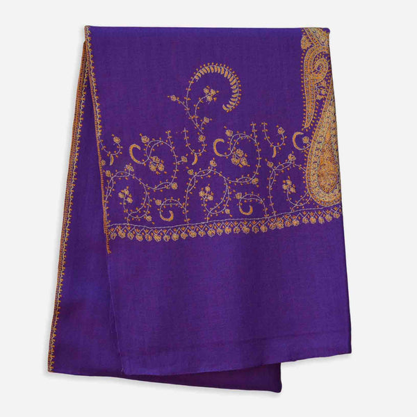 Big border embroidery on this violet woolen stole