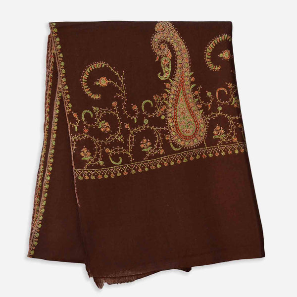 Brown merino embroidery woolen base cashmere scarf
