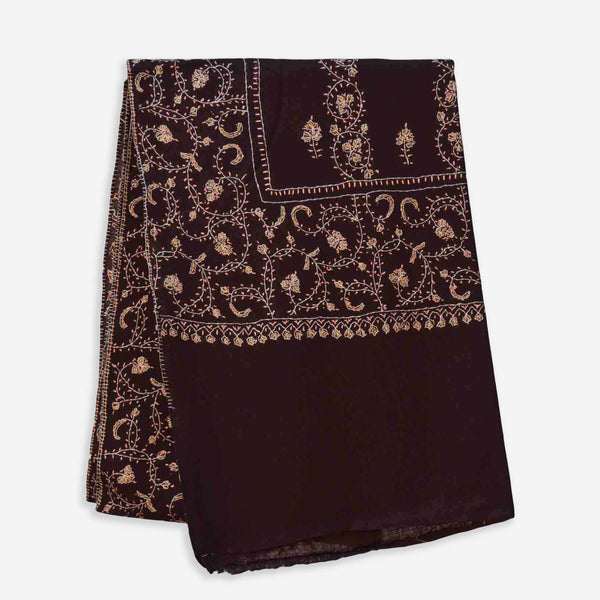 Brown Kashmiri Merino Wool Sozni Embroidery Stole