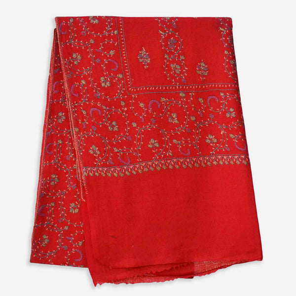 Red kashmiri merino wool embroidered scarf