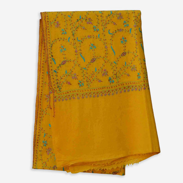 Kashmir cashmere merino wool yellow embroidered scarf