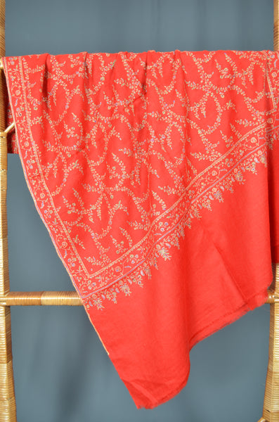 Red Jali Embroidery Cashmere Pashmina Scarf