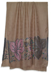 Brown Big Border Leaves Jacquard Merino Wool Scarf