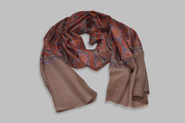 Natural Brown Merino Sozni Jamawar Hand Embroidery Scarf