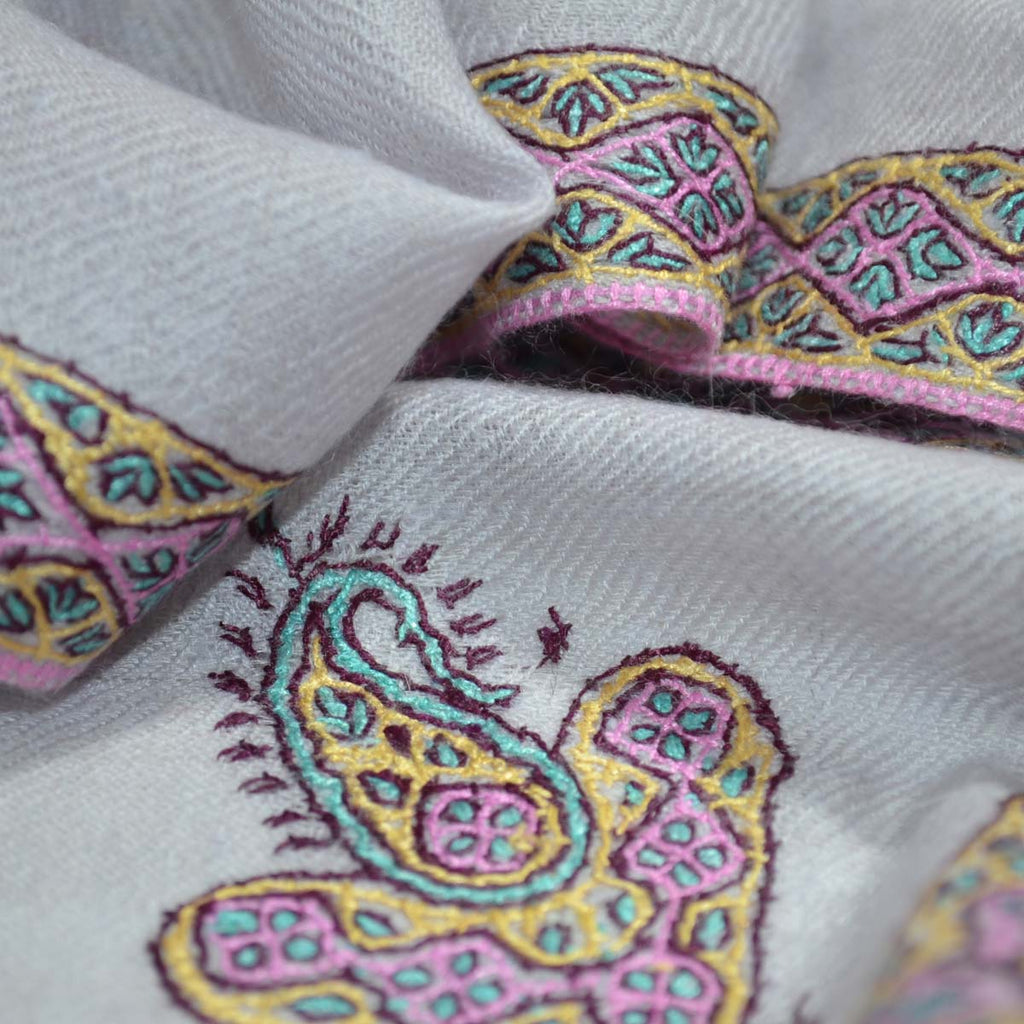 Cloud Grey Border Embroidery Pashmina Cashmere Scarf