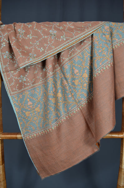 Brown Reversible Jali Embroidery Pashmina Cashmere Shawl