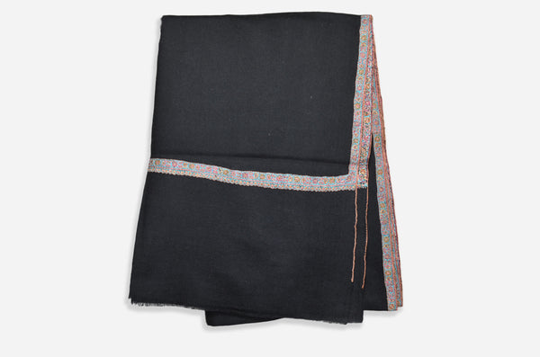 Black Cashmere Scarf With Beautiful Border Embroidery