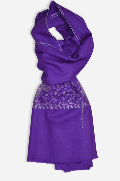 Purple Sozni Embroidery Scarf