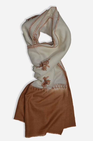 Ivory And Brown Merino Sozni Hand Embroidery Shawl