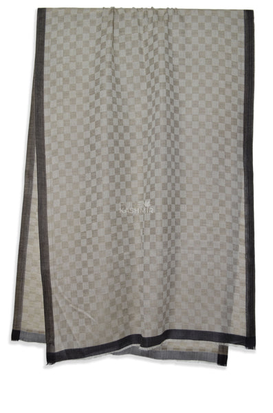 Four Side Black Silk Border With Square Weave Pattern