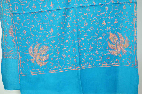 Royal Blue Merino Sozni Jali Hand Embroidery Scarf