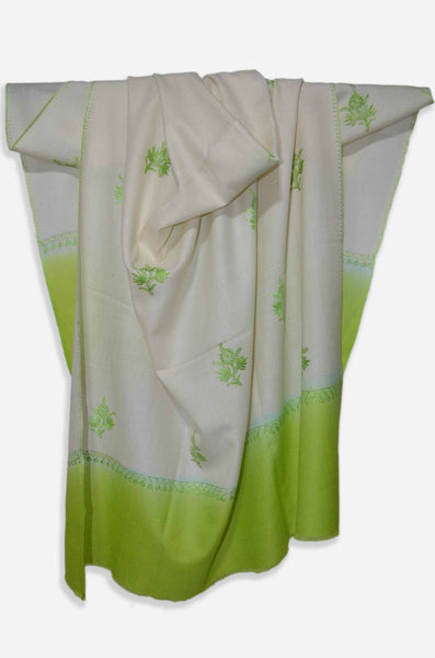 Ivory And Green Merino Sozni Hand Embroidery Shawl