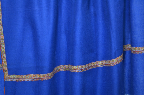 Blue Cashmere Pashmina Shawl with Beautifully  Crafted Border