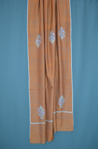 Brown Reversible Border Embroidery Cashmere Pashmina Shawl