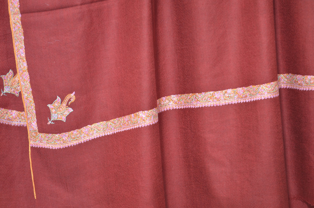 Maroon Pashmina Shawl with Beautifully Crafted Border