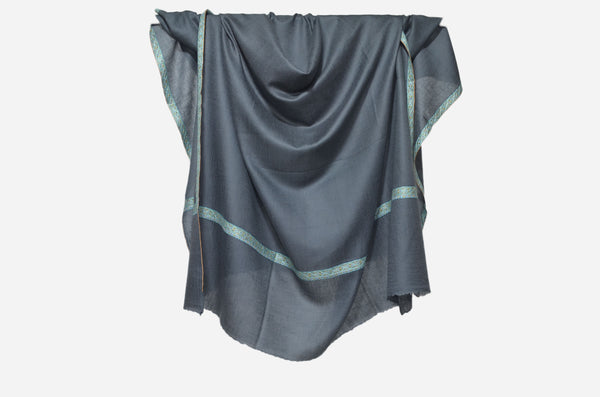 Charcoal Grey Cashmere Pashmina Shawl with Beautifully  Crafted Border
