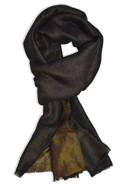 reversible black and metallic gold merino silk scarf | made in kashmir