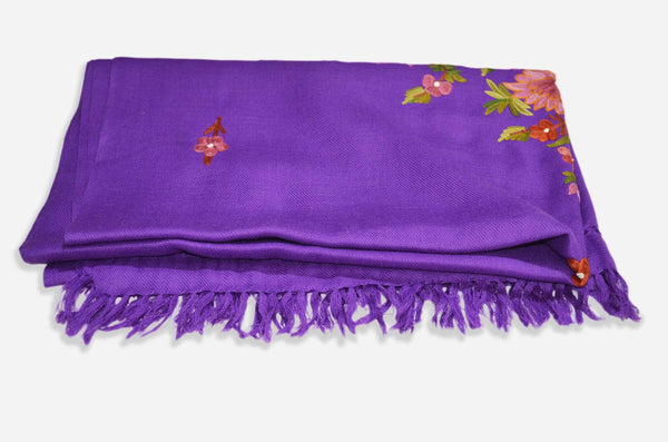 Purple Merino Wool Aari Work Scarf