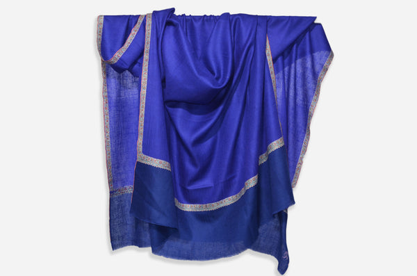 Blue And Royal Blue Cashmere Pashmina Shawl with Beautifully  Crafted Border