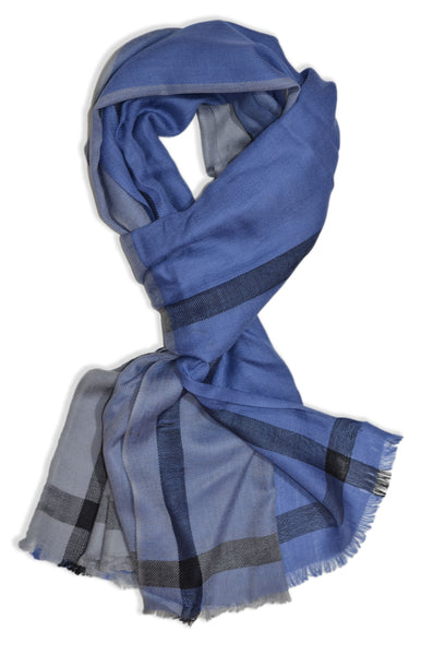 Blue Four Side Border Merino Scarf