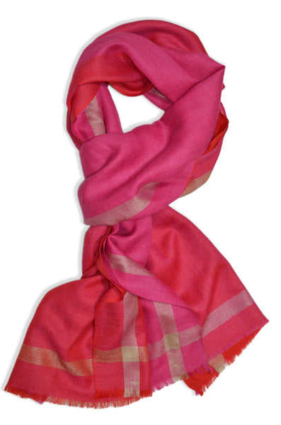 Pink Four Side Border Merino Scarf