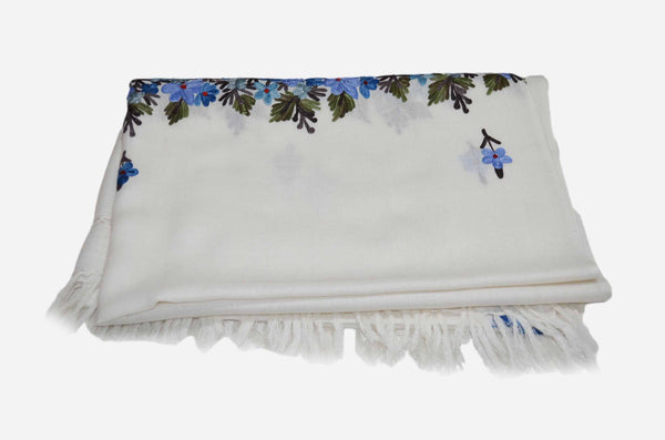 Ivory Merino Wool Aari Embroidered Big Border and Motif Scarf