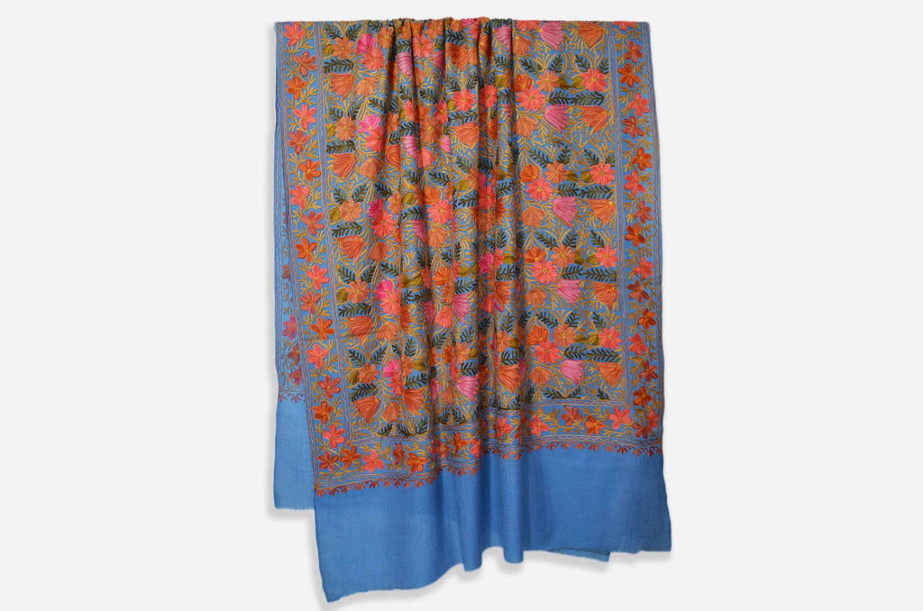 Blue Merino Wool Aari Jamawar Embroidery Shawl