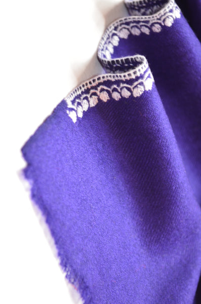 Navy Blue Sozni Embroidery Shawl