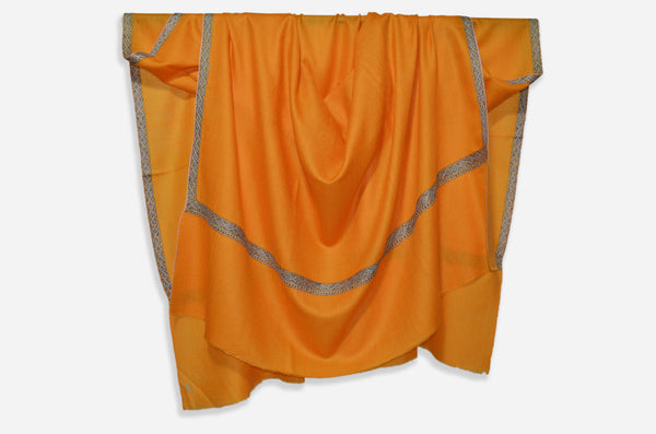 Apricot Natural Cashmere Pashmina Shawl with Beautifully  Crafted Border