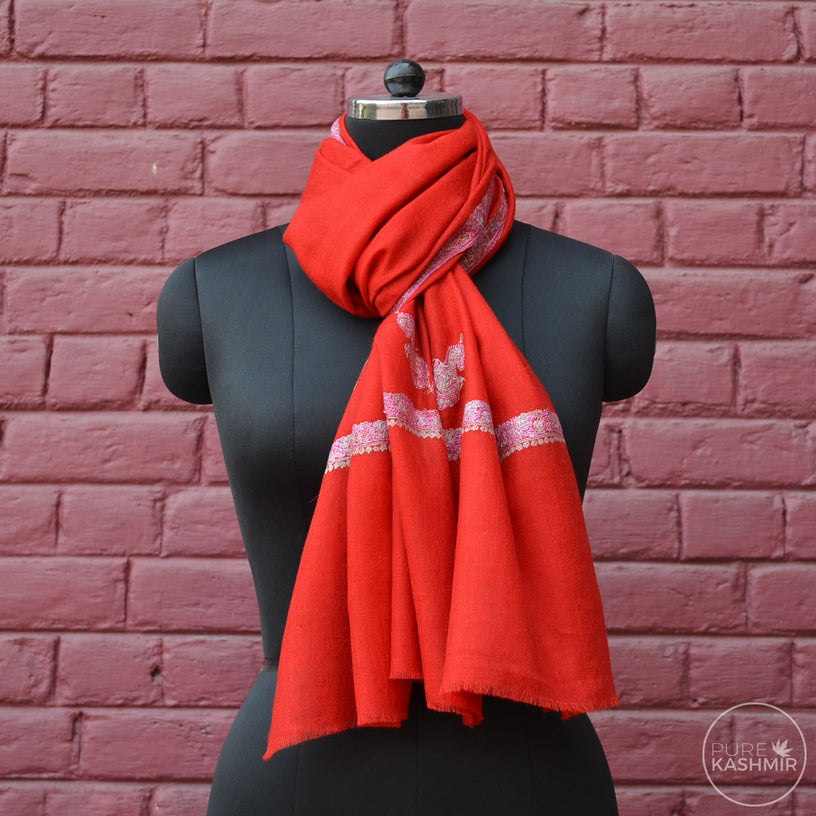 Red Cashmere Scarf With Stunning Border Embroidery