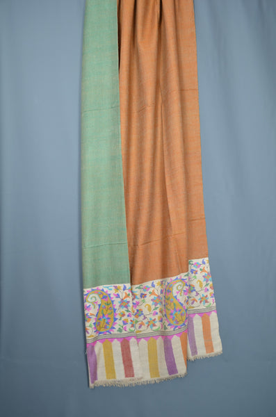 Oversized 2.5 Yards Orange Reversible Kani Pashmina Shawl