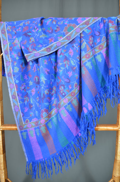 Royal Blue Kani Jamawar Pashmina Shawl