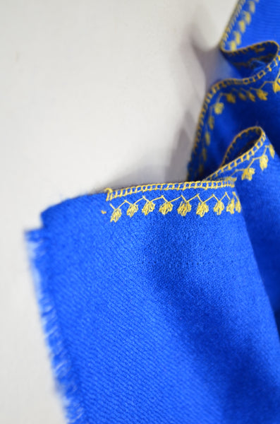 Royal Blue Sozni Embroidery Shawl