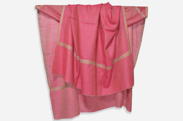 Reversible Pink Cashmere Pashmina Shawl with Beautifully  Crafted Border