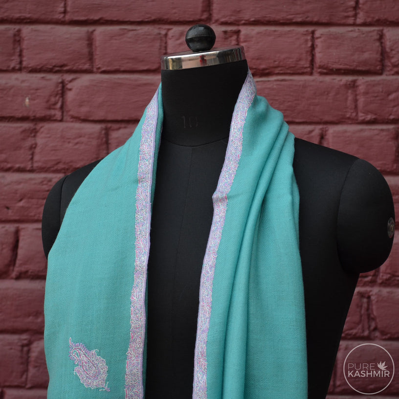 Turquoise Cashmere Scarf With Stunning Border Embroidery
