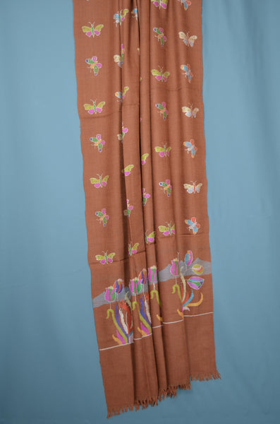 Brown Motif Kani Pashmina Shawl
