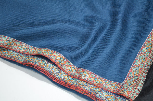 Blue And Black Cashmere Pashmina Shawl with Beautifully  Crafted Border