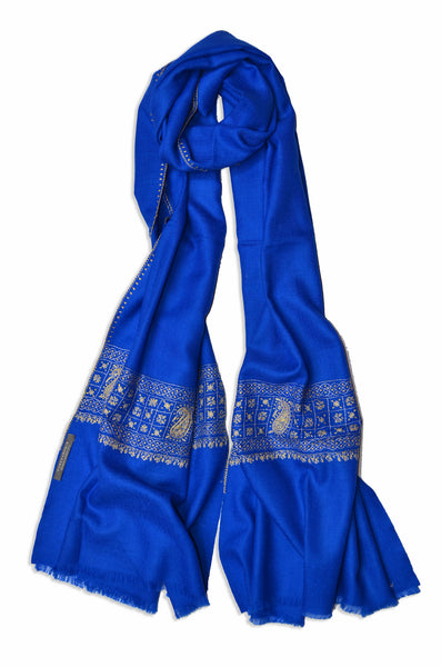 Royal Blue Sozni Embroidery Scarf