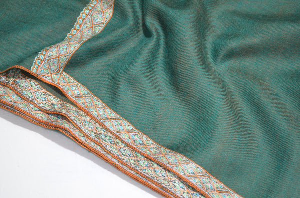 Reversible Emerald Cashmere Pashmina Shawl with Beautifully  Crafted Border