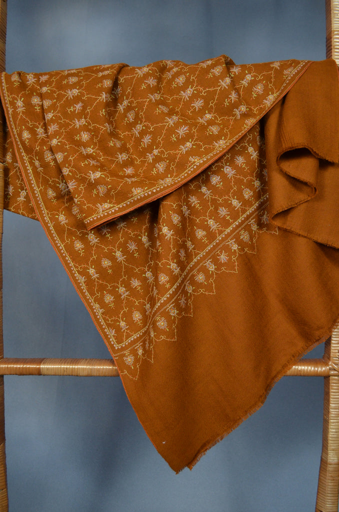 Brown Jali Embroidery Pashmina Cashmere Shawl