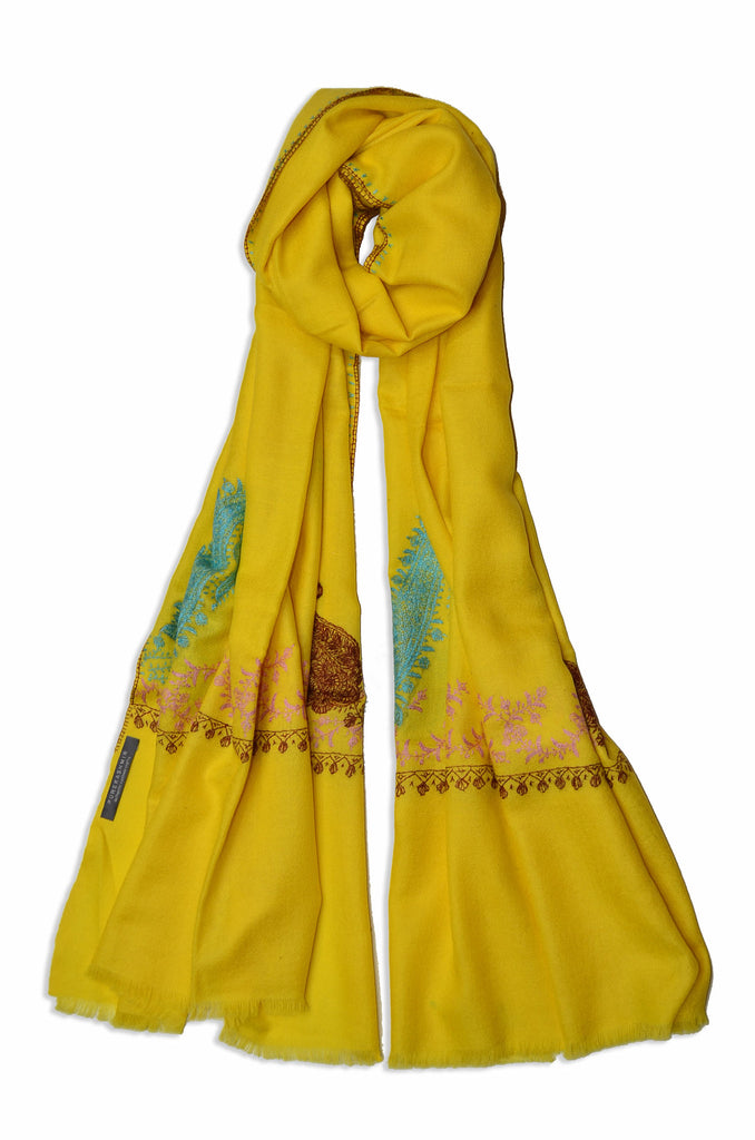 Yellow Sozni Embroidery Scarf