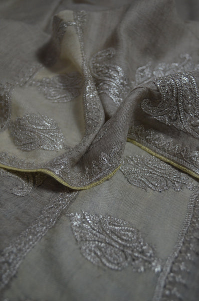 Un Dyed Taupe Tilla Border Embroidery Pashmina Shawl