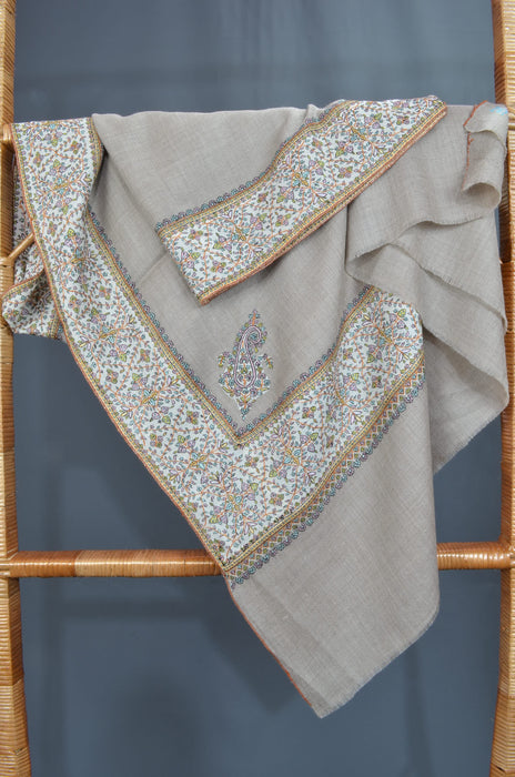 Natural Big Border Sozni Embroidery Pashmina Shawl