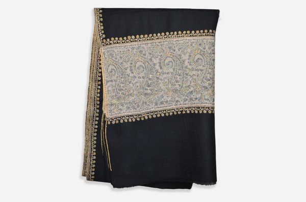Black and Natural Cashmere Pashmina Stole with Beautiful Big Border