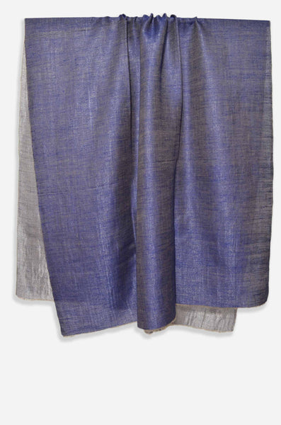 Reversible Metallic Blue and Silver Handwoven Cashmere Pashmina Shawl